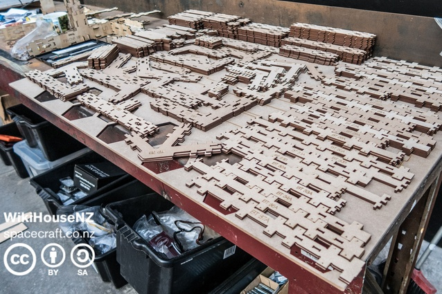 Kitset parts used to create the WikiHouse – just like Lego, you can add more pieces as the house grows.