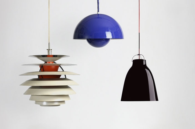 PH Contrast lamp, designed by Poul Henningsen for Louis Poulsen; Flowerpot lamp by Verner Panton for Louis Poulsen; Caravaggio Pendant by Cecilie Manz for Lightyears.