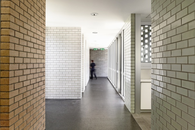 Carrum Downs Police Station. A mini city: a cluster of programmatic elements each figured as an individual volume and distinguished through a particular choice of brick.