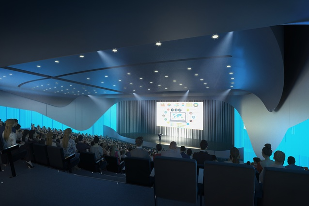 Render of Christchurch Convention Centre's auditorium.