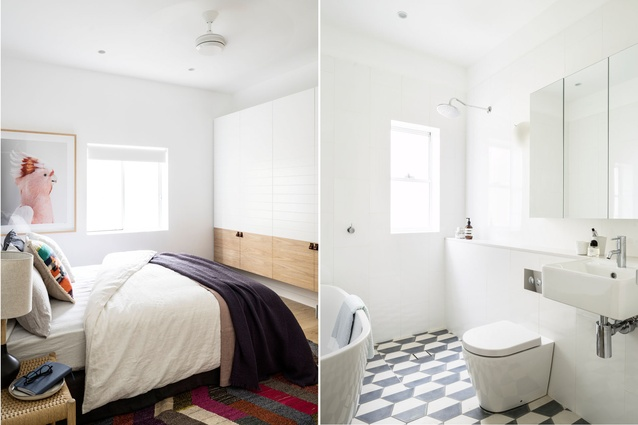 Splashes of colour give the bedroom a brighter, more playful atmosphere. The black-and-white scheme reappears in the bathroom.