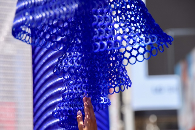 Detail of Kaynemaile's #WaveNewYork installation in Times Square as part of the NYCxDESIGN festival.