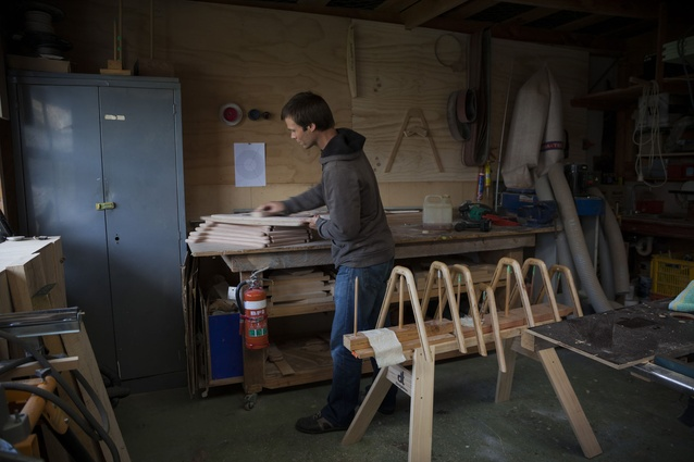 Wigmore at work in the couple's garage.