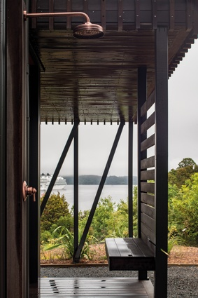 An outside shower with a view.