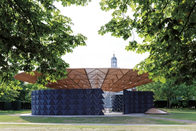 Open timber walls display a triangular pattern, which resemble textiles.