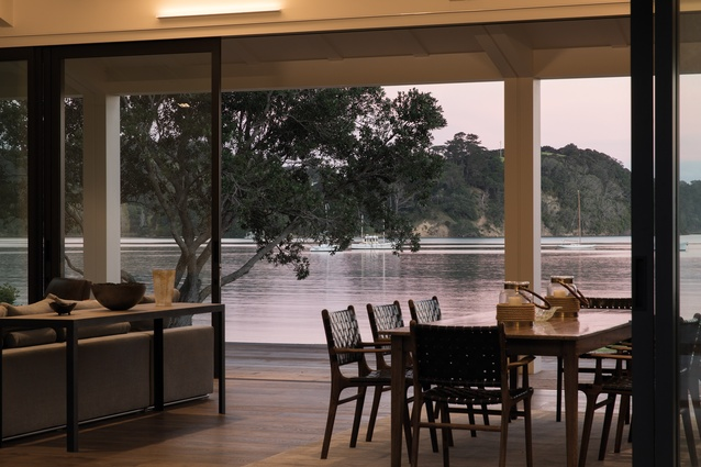 Scotts Landing: The living and dining area overlook the inlet.