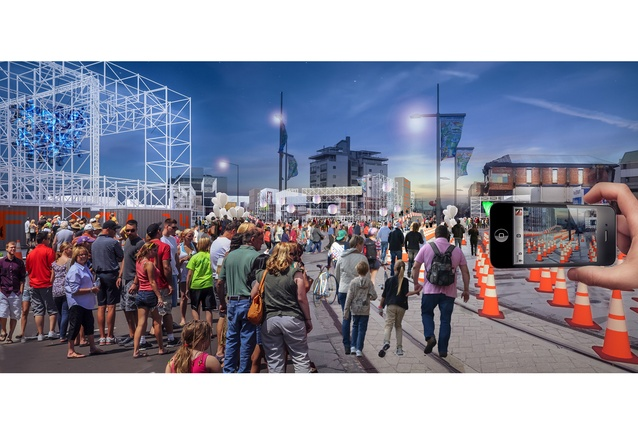 Render for FESTA 2014, showing Christchurch city re-imagined as a pop-up city via a temporary scaffolding framework and augmented reality apps via phones and tablets.