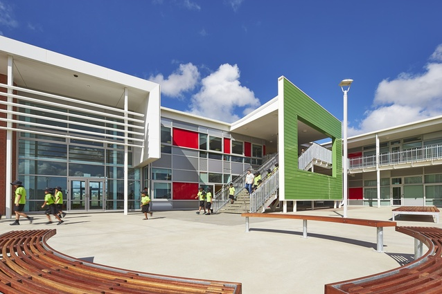 The design maximises sunlight and shelters the children from prevailing southerly winds.