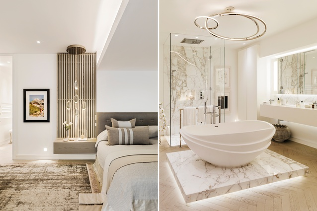 Delicate bedside lamps from Ochre are framed by ribbed panels, adding symmetry; the design for the apaiser bath-tub was inspired by a stack of bowls Hoppen designed for Wedgwood.
