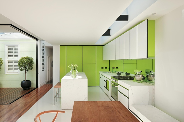 Bright green gives this kitchen, by Matt Gibson, a fresh look.