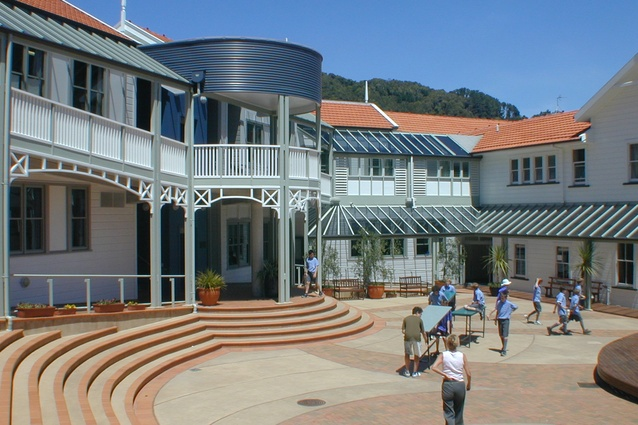 Wellesley College courtyard, Days Bay, Wellington by Bruce Dickson Architecture.