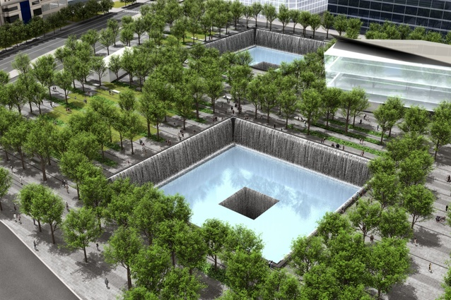 The large reflecting pools in the memorial plaza.