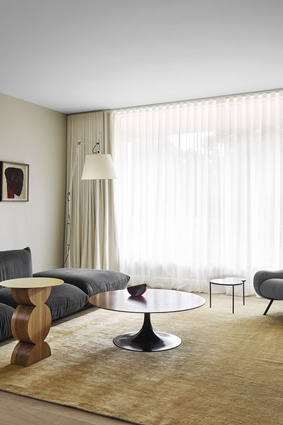 The lounge rooms have been furnished with select key pieces, including Cassina's distinctly shaped Constantin table and a vintage Eero Saarinen Tulip table.