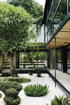 Greenery can be seen from every space in the home.
