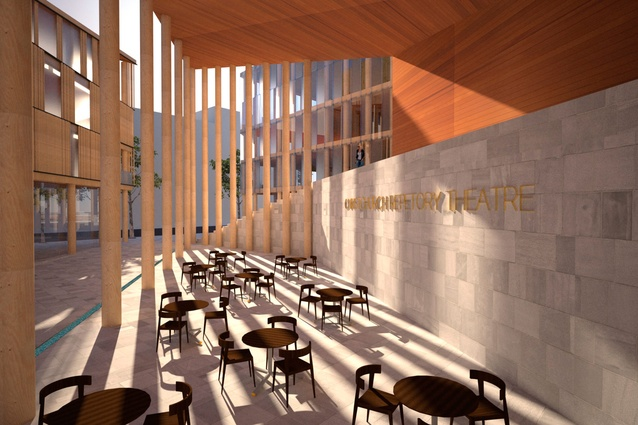 Andrew Sexton Architecture's outdoor cafe is included in a re-imagining of the iconic Christchurch Repertory Theatre.