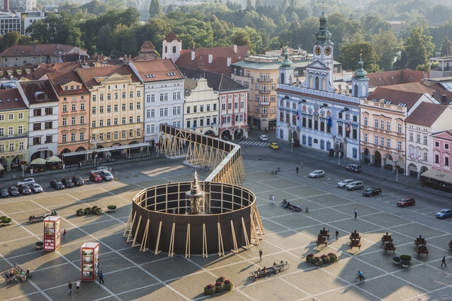 Perception installation by architect Jan Šépka in the Czech Republic. An attempt to create conversation around how the public perceives landmarks and hidden spaces alike.