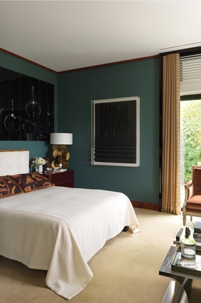 The couple agreed on a palette largely dominated by cognac and caramel tones, with a few black accents and a splash of teal in the master bedroom.