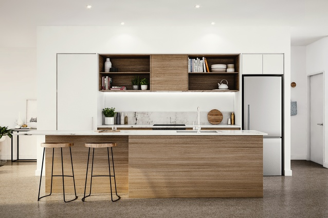 Render of a kitchen in a terrace house at Market Cove.