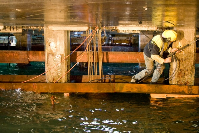 More than 200 new piles were drilled in between the existing piles through holes cut in the wharf.
