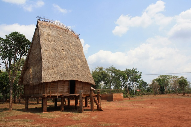 <em>Rong</em> (communal) stilt houses are situated in Vietnam's Central Highlands. The thatched-roof structures are shaped like thick axe blades that reach up to 30 metres – the taller the rong, the greater status of the village.