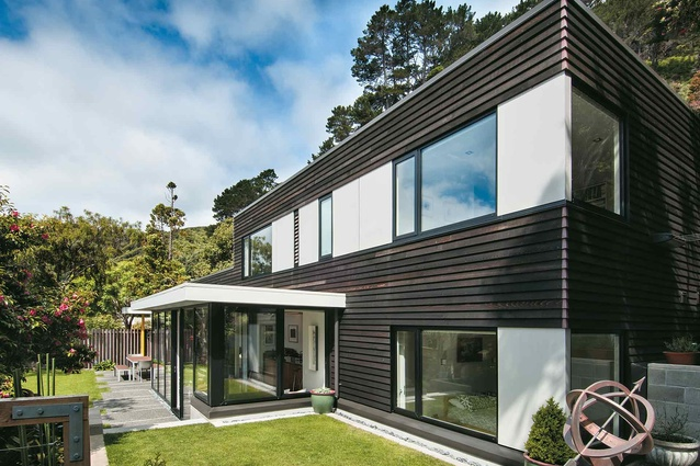 Looking at this house, designed by Tennent + Brown Architects, from the south-west end of the site.