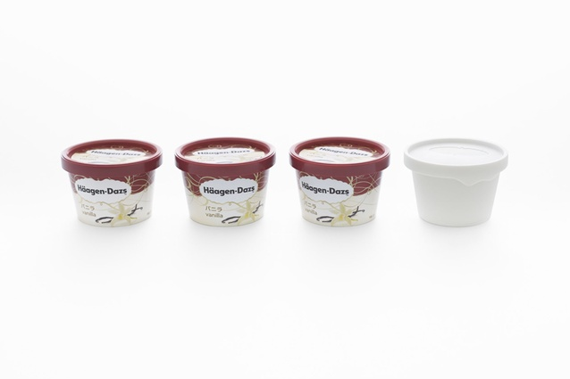 The aroma cup is made in likeness to the Haagen-Dazs plastic tub.