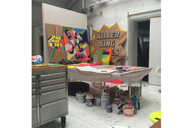 Supergroup London: Morag Myerscough's incredibly colourful studio where she works with her dog Lemmy.