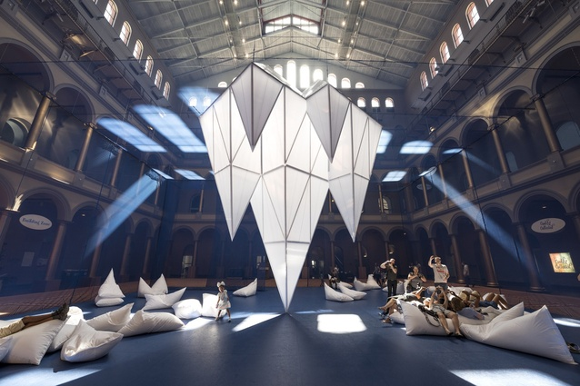 ICEBERGS by James Corner Field Operations in the National Building Museum, Washington. This 'under water world' installation offers a welcome escape from the hot summer weather.