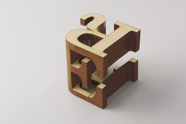 Each element is made out of two letter forms fused together.
