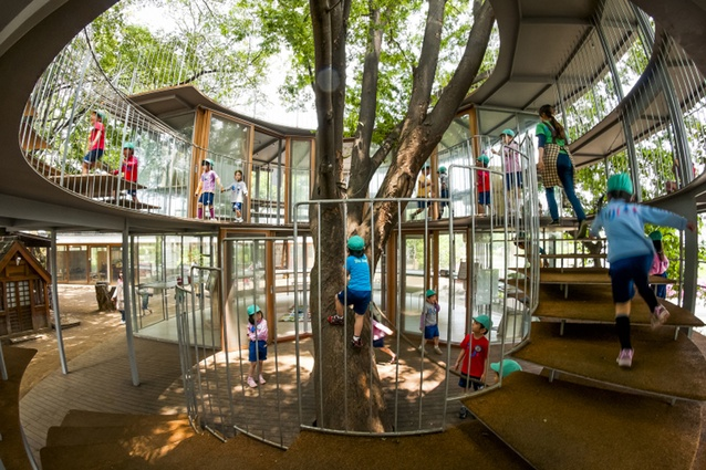 Fuji Kindergarten. The architect has worked around several existing trees, allowing nature to act as a playground – children are encouraged to climb trees here.