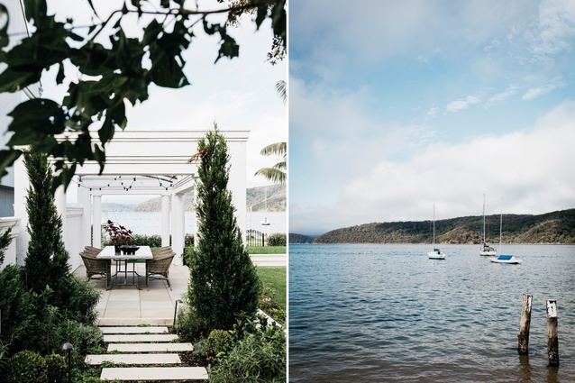 L: The gazebo was an existing feature of the house. This courtyard faces south-west. R: The view is across Pittwater towards Ku-ring-gai Chase National Park and Scotland Island.