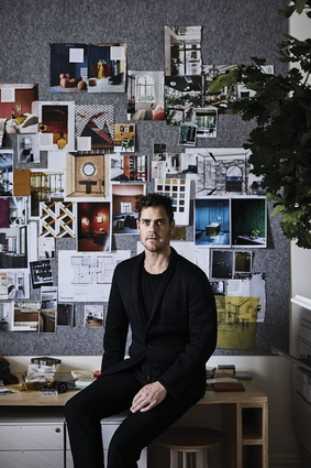 Designer David Flack in his studio.