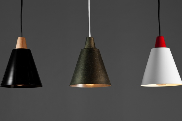 Tri Ampel pendant light in three different  finishes and connectors.