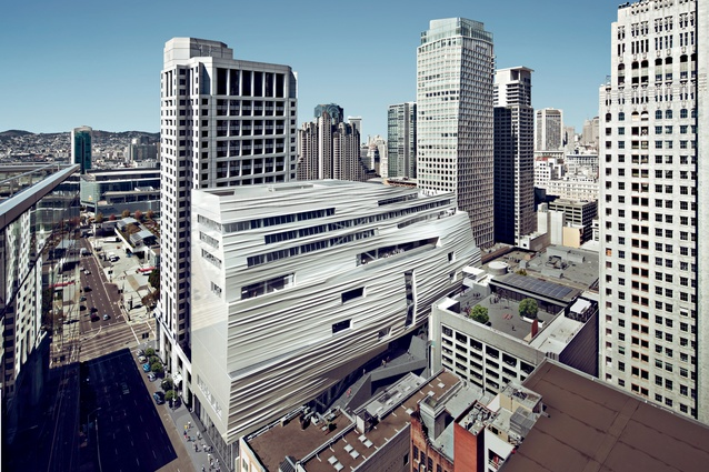 "Snøhetta's contemporary extension to the San Francisco Museum of Modern Art has been criticised for its ""unhappy marriage"" with Mario Botta's original building completed in 1995."