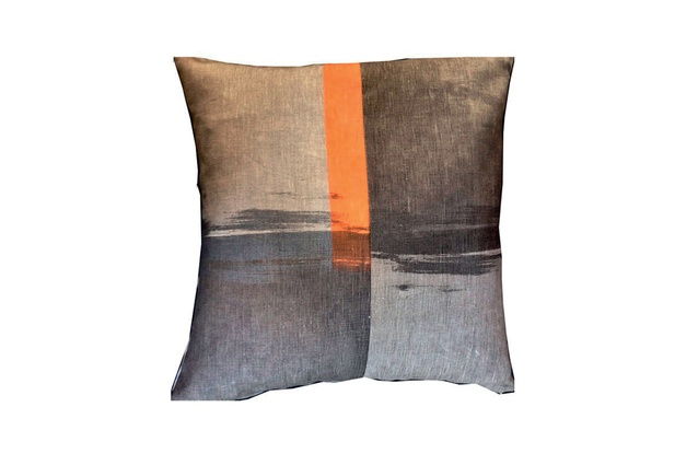 FW2 cushion cover in orange and grey.