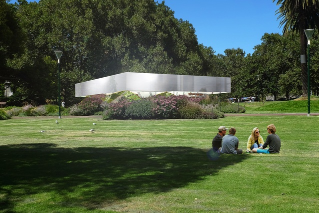 The 2017 MPavilion by Rem Koolhaas and David Gianotten of OMA will consist of an aluminium-clad canopy structure over a amphitheater space.