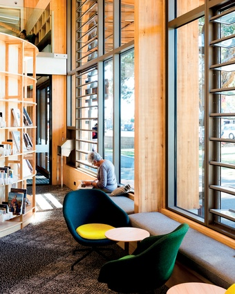 Curved shelving units, natural ventilation and unexpected nooks and crannies abound here.