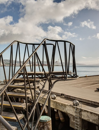 The skeletal steel frame of the Taranaki Wharf jump platform.