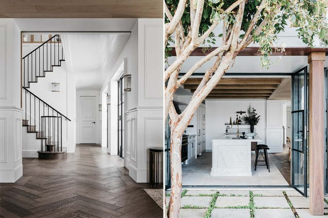 A crepe myrtle tree grows outside the kitchen. The ceiling is lined in raw European oak tongue and groove wide-format planks with arrised edges.