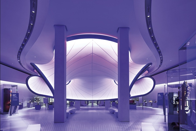Zaha Hadid Architects' new mathematics gallery, the Winton Gallery, at the Science Museum, London.