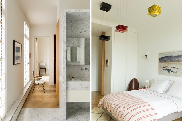 Bathroom is clad in Carrara marble with taps from Lefroy Brooks. The 1950s chair is by Richard McCarth; Photo in master bedroom is by Justine Kurland, Hikary lights by Ettore Sottsass, vintage Morrocan rug.