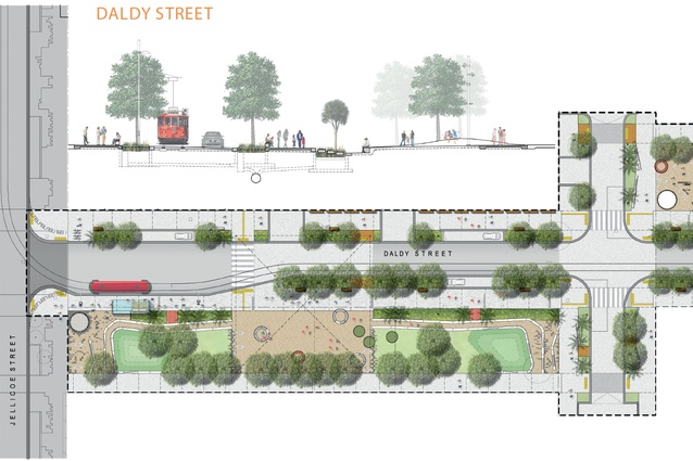 A drawing of the 38-metre wide southern section of Daldy Street.