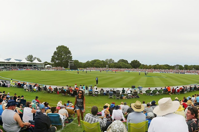 Public Architecture Award: Hagley Oval Pavilion by Athfield Architects. Panoramic view.