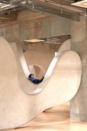 Cloud Garden Nursery. Children can use the curved shapes as a playground, with some spaces only large enough for small people to pass through.