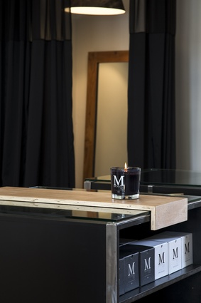 The shop features luxury candles by Mackinven & Co.