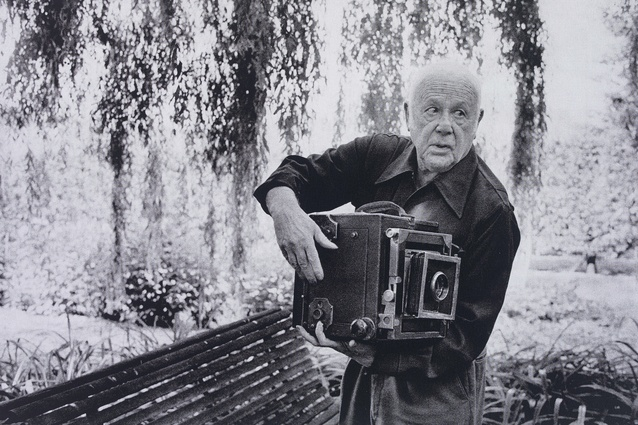 Paul Strand photographing the Orgeval Garden, 1974. Photographed by Martine Franck.